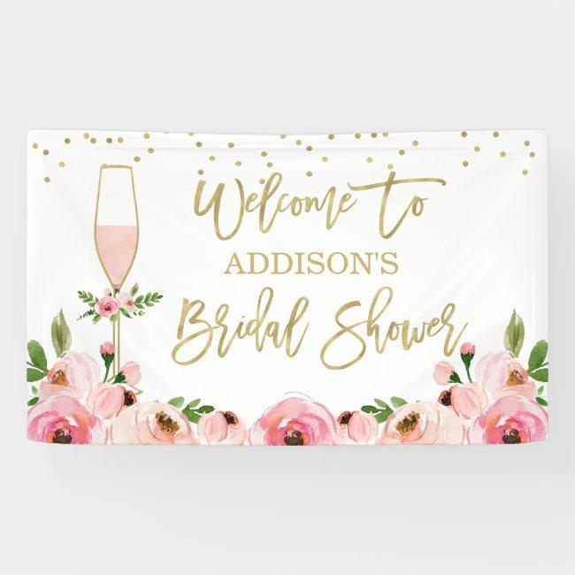 Floral Champagne Glass Bridal Shower Banner