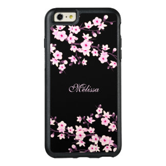 Floral Cherry Blossom Black Pink Monogram OtterBox iPhone 6/6s Plus Case