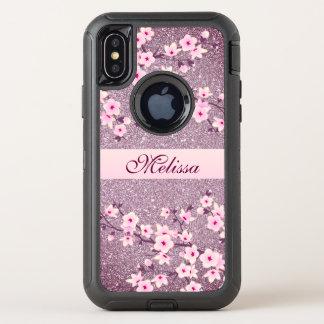 Floral Cherry Blossom Mauve Bling Monogram OtterBox Defender iPhone X Case