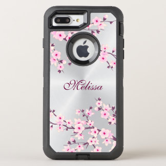 Floral Cherry Blossom Silver Pink Monogram OtterBox Defender iPhone 8 Plus/7 Plus Case