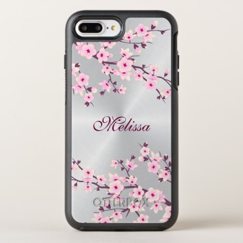 Floral Cherry Blossom Silver Pink Monogram Phone Case