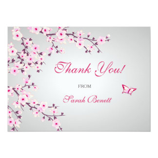 Floral Cherry Blossoms Baby Shower Thank You Card