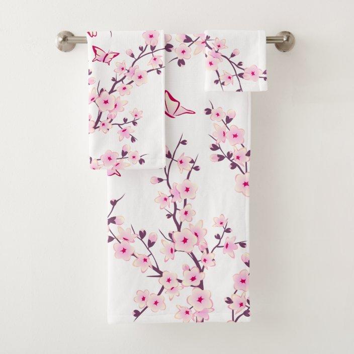 Fl Cherry Blossoms Bath Towel Set