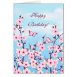 Floral Cherry Blossoms Birthday Card