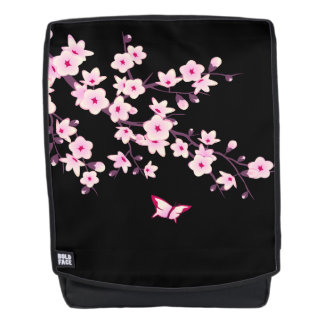 Floral Cherry Blossoms Black Pink Backpack