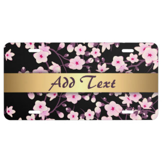 Floral Cherry Blossoms Black Pink License Plate