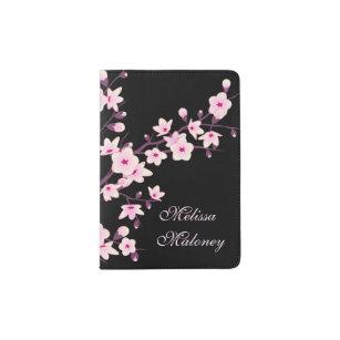 Floral Cherry Blossoms Black Pink Monogram Passport Holder