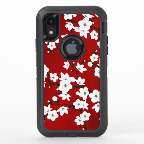 Floral Cherry Blossoms Black White Red Phone Case