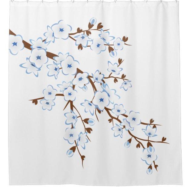 Floral Cherry Blossoms Blue White Classic Shower Curtain | Zazzle