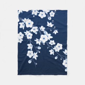 Floral Cherry Blossoms Blue White Fleece Blanket