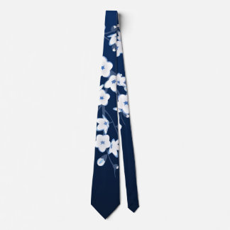 Floral Cherry Blossoms Blue White Tie