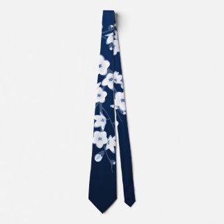 Floral Cherry Blossoms Blue White Tie