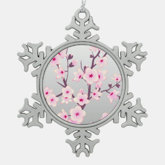 Floral Cherry Blossoms Christmas Tree Ornament.