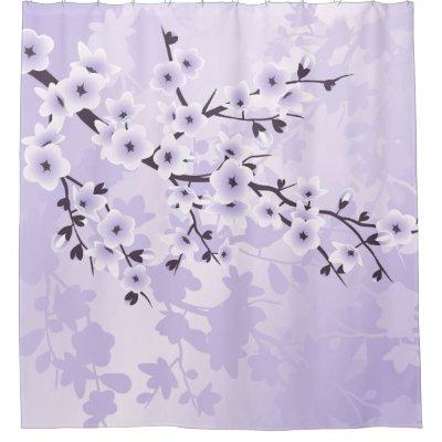 Floral Cherry Blossoms Blue White Classic Shower Curtain   Zazzle