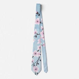 Floral Cherry Blossoms Dusky Pink Pale Blue Neck Tie
