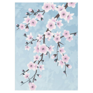 Floral Cherry Blossoms Dusky Pink Pale Blue Tablecloth