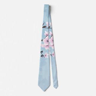 Floral Cherry Blossoms Dusky Pink Pale Blue Tie