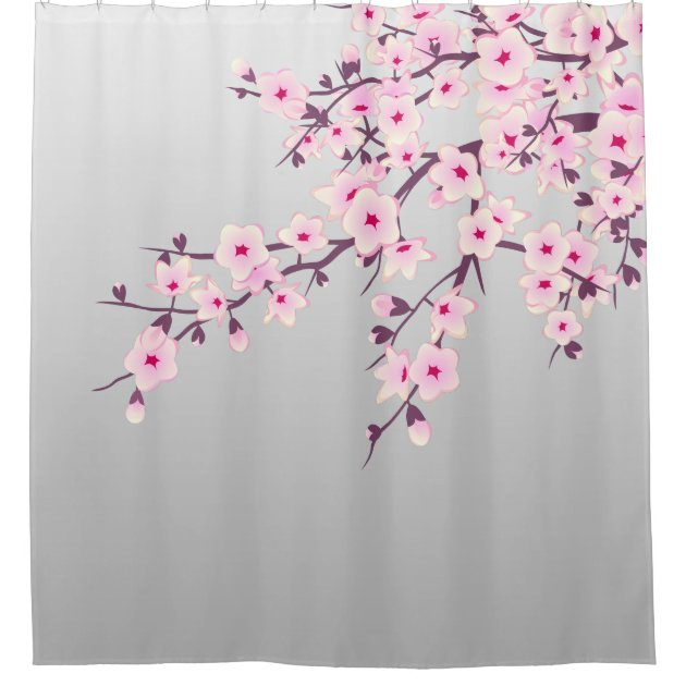 Floral Cherry Blossoms Gray Pink Shower Curtain | Zazzle