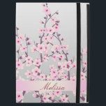 "Floral Cherry Blossoms Monogram iPad Pro 12.9&quot; Case<br><div class=""desc"">To change the name,  please click on customize!  pretty pink cherry blossoms floral asian design decorative name personalize elegant monogram monogrammed gray pink digital unique art sakura blooming flowers stylish trendy modern monogrammed nature</div>"
