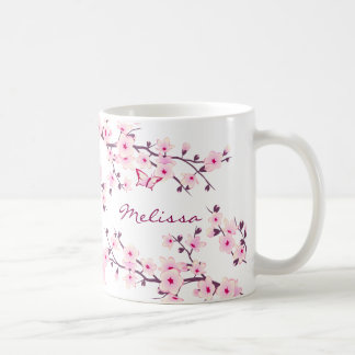 Floral Cherry Blossoms Monogram Mug