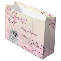 Floral Cherry Blossoms Owl Birthday Large Gift Bag