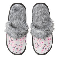 Floral Cherry Blossoms Pair Of Fuzzy Slippers