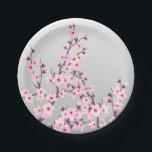 "Floral Cherry Blossoms Paper Plate<br><div class=""desc"">Matching Paper Napkins and Paper Cups available! Pink cherry blossoms on a gray background for your  spring party or other occasions. My sakura home decor gives your house a slight asian look.</div>"