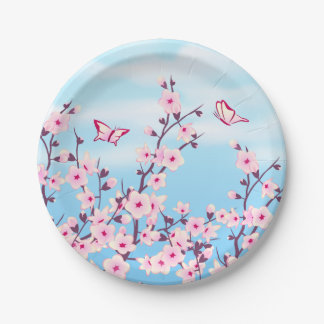Floral Cherry Blossoms Paper Plate 7 Inch Paper Plate