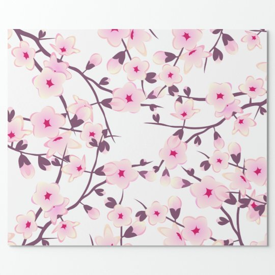Floral Cherry Blossoms Pattern Wrapping Paper Zazzle Com
