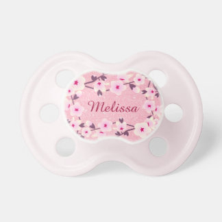 Floral Cherry Blossoms Personalized Glitter Pacifier