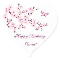 Floral Cherry Blossoms Pink Birthday Heart Sticker