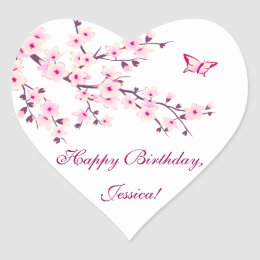 Floral Cherry Blossoms Pink Birthday Heart Sticker
