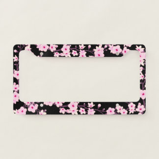 Floral Cherry Blossoms Pink Black License Plate Frame