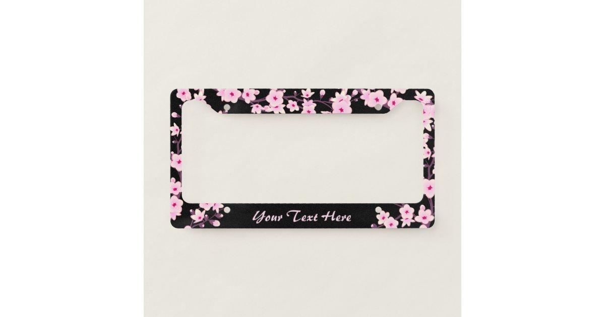 Floral Cherry Blossoms Pink Black License Plate Frame
