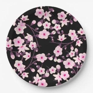Floral Cherry Blossoms Pink Black Paper Plate  sc 1 st  Zazzle & Black Sakura Plates   Zazzle