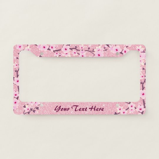 Floral Cherry Blossoms Pink Glitter License Plate Frame | Zazzle.com