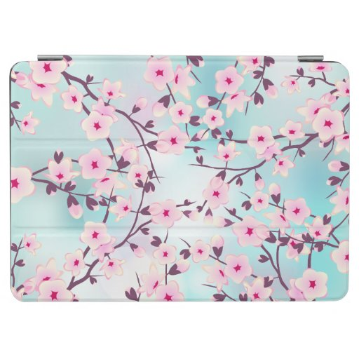 Floral Cherry Blossoms Pink Turquoise Bokeh iPad Air Cover