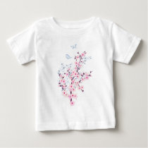 Floral Cherry Blossoms Pink White Baby T-Shirt