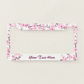 Floral Cherry Blossoms Pink White License Plate Frame