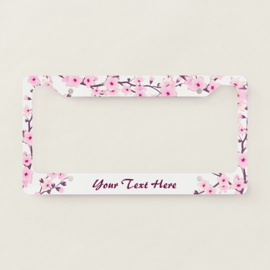 Floral Cherry Blossoms Pink White License Plate Frame | Zazzle.com