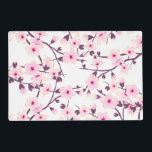 "Floral Cherry Blossoms Pink White Placemat<br><div class=""desc"">Matching kitchen clock, tablecloths, table runners and other home decor available! I created this cherry blossom branch with love to the detail as a vector file. This version in white and pink is a concentric design. My sakura kitchen decor is also available in different colors. The cherry blossoms give your...</div>"