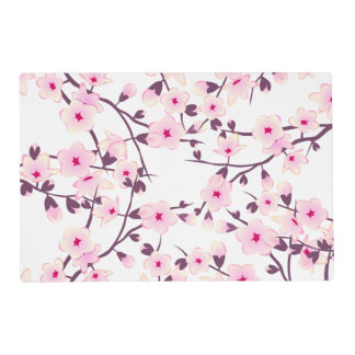 Floral Cherry Blossoms Pink White Placemat