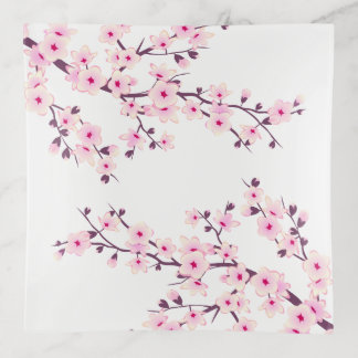 Floral Cherry Blossoms Pink White Trinket Trays