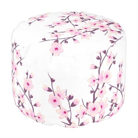 Floral Cherry Blossoms Pouf