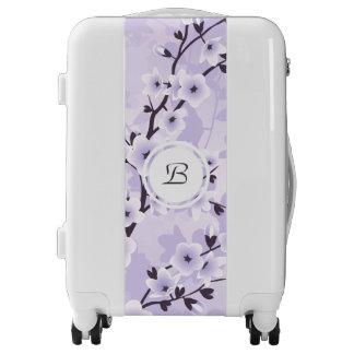 Floral Cherry Blossoms Purple Monogram Luggage