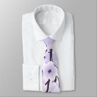 Floral Cherry Blossoms Purple Neck Tie
