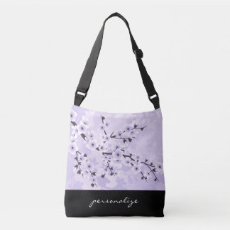 Floral Cherry Blossoms Purple Personalize Crossbody Bag