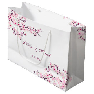 Floral Cherry Blossoms Wedding Large Gift Bag