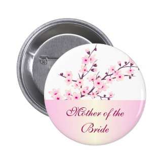 Floral Cherry Blossoms Wedding Pinback Button