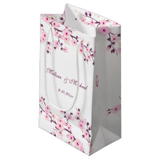 Floral Cherry Blossoms Wedding Small Gift Bag